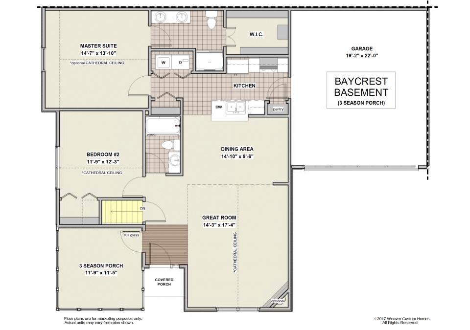 Baycrest Basement First Floor Plan - 3 Season Porch