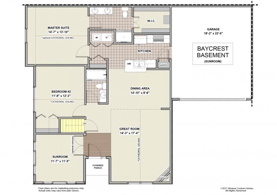 Baycrest Basement First Floor Plan - Sunroom