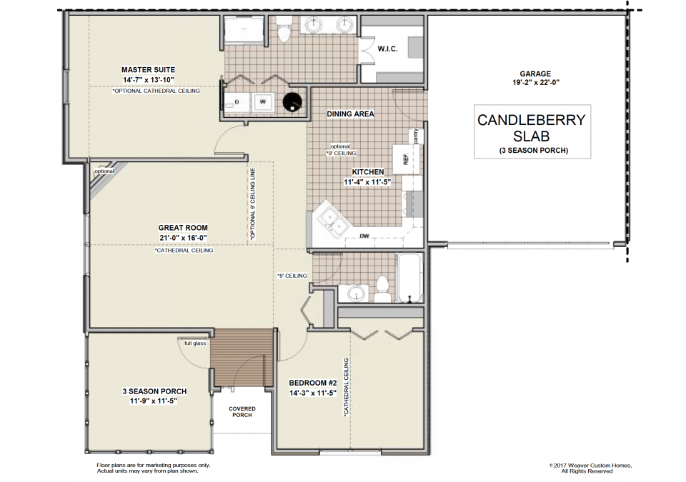 Candleberry Slab - First Floor Plan - 3 Season Porch