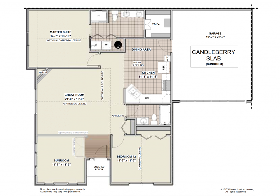 Candleberry Slab - First Floor Plan - Sunroom